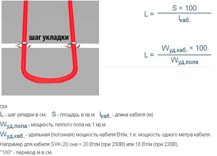 Расчет мощности кабельного теплого пола